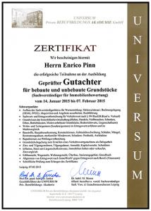 Zertifikat - Geprüften Sachverständigen für Immobilienbewertung - Enrico Pinn