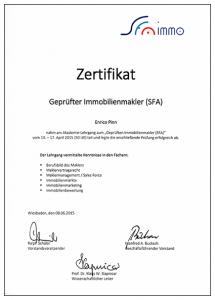 Zertifikat Immobilienmakler - Enrico Pinn